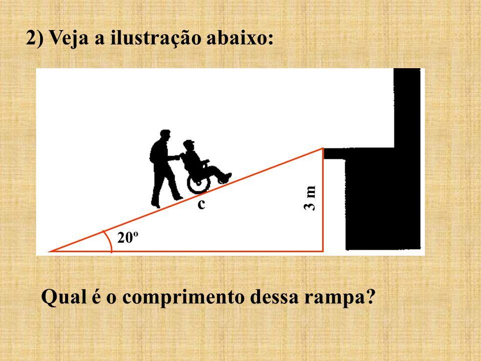 2) Veja a ilustração abaixo: Qual é o comprimento dessa rampa? 20º c 3 m