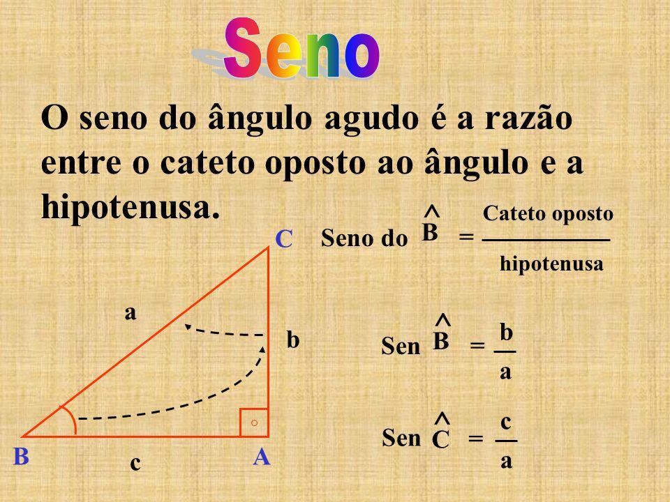 O seno do ângulo agudo é a razão entre o cateto oposto ao ângulo e a hipotenusa. Seno do ^ B = Cateto oposto hipotenusa Sen ^ B = b a c a ^ C = B C A