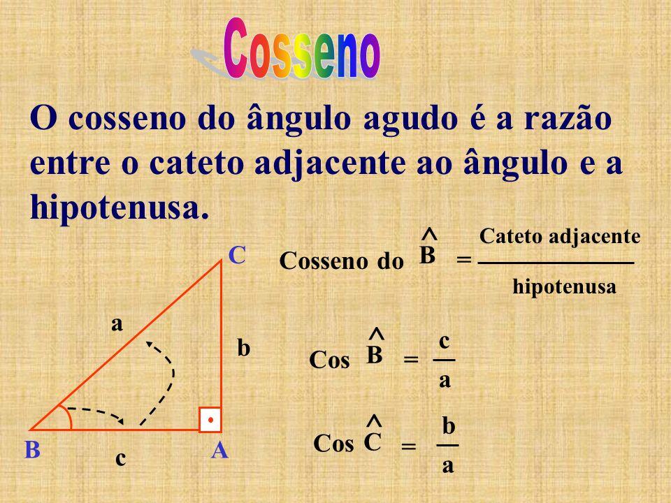 O cosseno do ângulo agudo é a razão entre o cateto adjacente ao ângulo e a hipotenusa. Cosseno do ^ B = Cateto adjacente hipotenusa Cos ^ B = c a ^ C