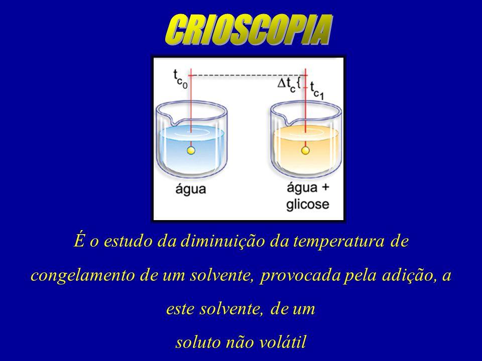 É o estudo da diminuição da temperatura de congelamento de um solvente, provocada pela adição, a este solvente, de um soluto não volátil