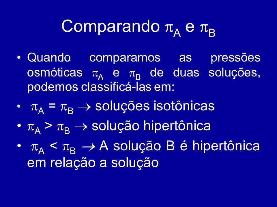 Comparando A e B Quando comparamos as pressões osmóticas A e B de duas soluções, podemos classificá-las em: A = B soluções isotônicas A > B solução hi