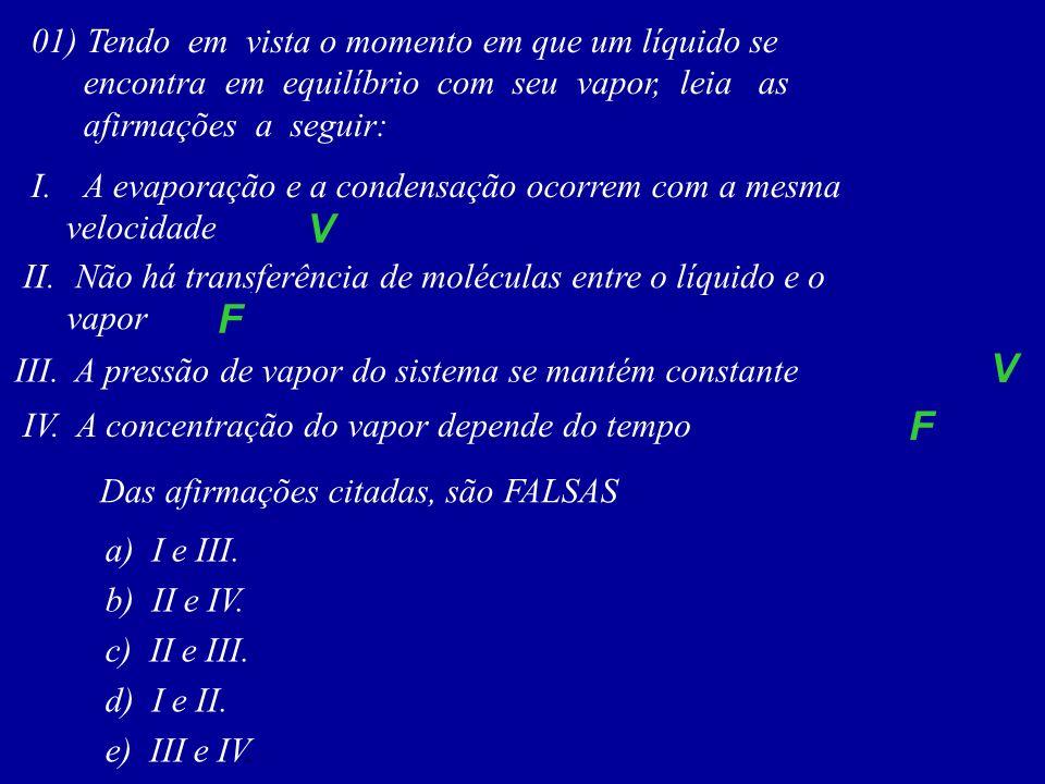 01) Tendo em vista o momento em que um líquido se encontra em equilíbrio com seu vapor, leia as afirmações a seguir: I.A evaporação e a condensação oc