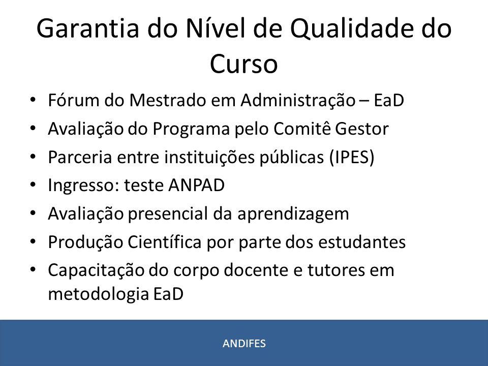 Garantia do Nível de Qualidade do Curso Fórum do Mestrado em Administração – EaD Avaliação do Programa pelo Comitê Gestor Parceria entre instituições