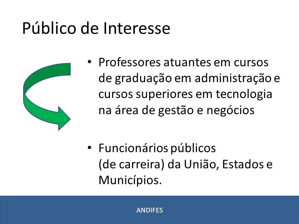 Público de Interesse Professores atuantes em cursos de graduação em administração e cursos superiores em tecnologia na área de gestão e negócios Funci