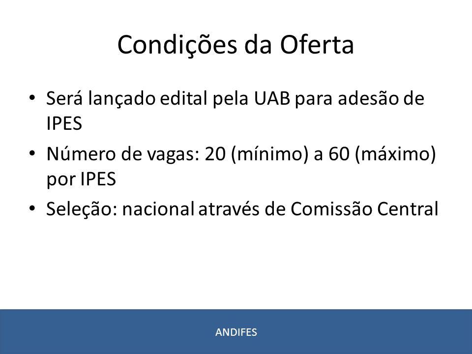 Condições da Oferta Será lançado edital pela UAB para adesão de IPES Número de vagas: 20 (mínimo) a 60 (máximo) por IPES Seleção: nacional através de