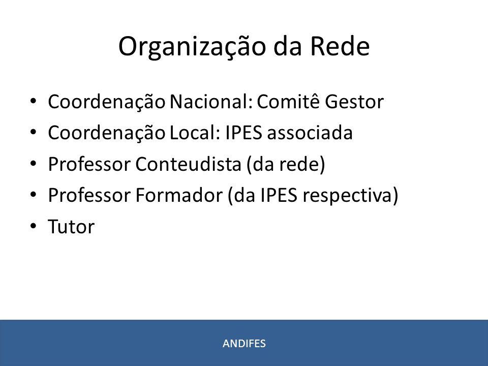 Organização da Rede Coordenação Nacional: Comitê Gestor Coordenação Local: IPES associada Professor Conteudista (da rede) Professor Formador (da IPES