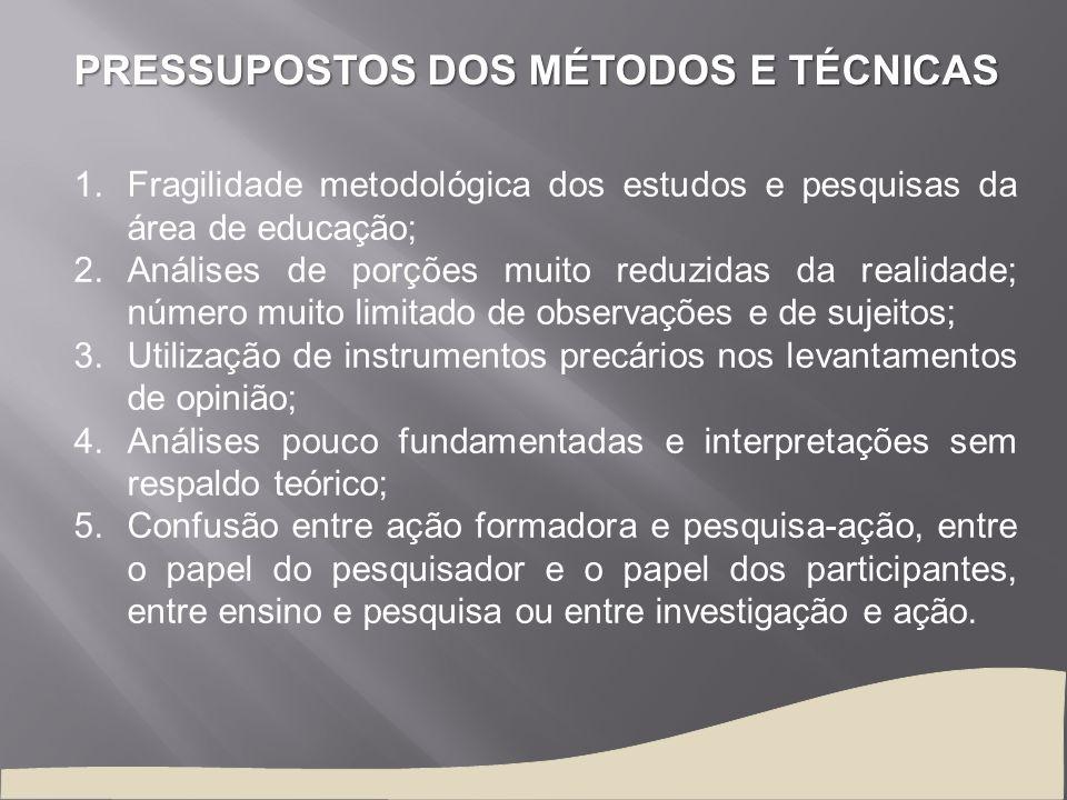 PRESSUPOSTOS DOS MÉTODOS E TÉCNICAS 1.Fragilidade metodológica dos estudos e pesquisas da área de educação; 2.Análises de porções muito reduzidas da r