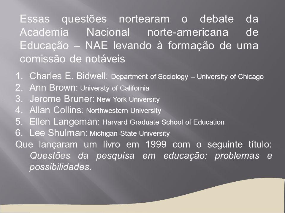 Essas questões nortearam o debate da Academia Nacional norte-americana de Educação – NAE levando à formação de uma comissão de notáveis 1.Charles E. B
