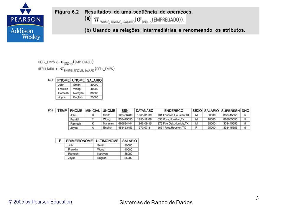 Sistemas de Banco de Dados © 2005 by Pearson Education 3 Figura 6.2 Resultados de uma seqüência de operações. (a) (b) Usando as relações intermediária