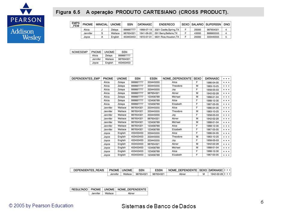 Sistemas de Banco de Dados © 2005 by Pearson Education 6 Figura 6.5 A operação PRODUTO CARTESIANO (CROSS PRODUCT).