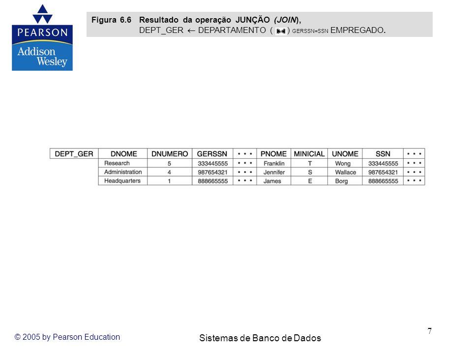 Sistemas de Banco de Dados © 2005 by Pearson Education 7 Figura 6.6 Resultado da operação JUNÇÃO (JOIN), DEPT_GER DEPARTAMENTO ( ) GERSSN=SSN EMPREGAD