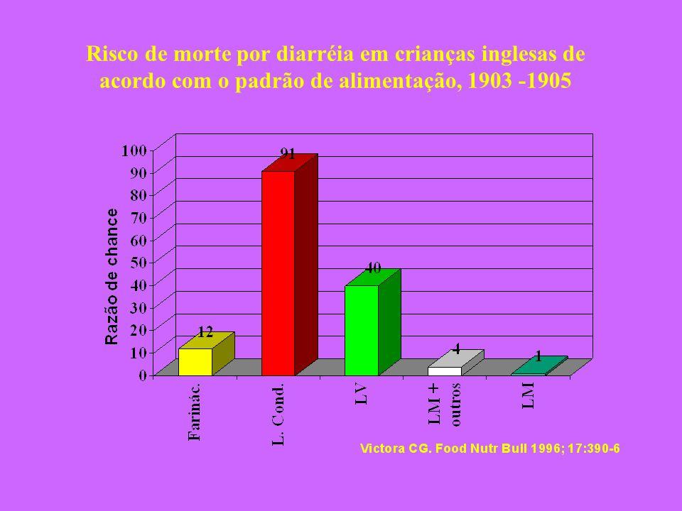 Risco de morte por diarréia em crianças inglesas de acordo com o padrão de alimentação, 1903 -1905