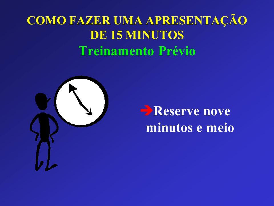 COMO FAZER UMA APRESENTAÇÃO DE 15 MINUTOS Treinamento Prévio è Reserve nove minutos e meio