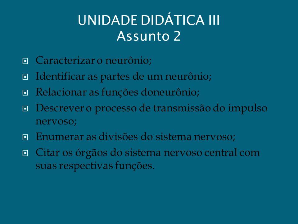 UNIDADE DIDÁTICA III Assunto 2 Caracterizar o neurônio; Identificar as partes de um neurônio; Relacionar as funções doneurônio; Descrever o processo d