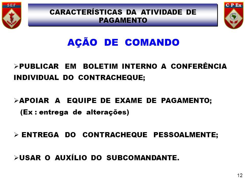 PUBLICAR EM BOLETIM INTERNO A CONFERÊNCIA INDIVIDUAL DO CONTRACHEQUE; APOIAR A EQUIPE DE EXAME DE PAGAMENTO; (Ex : entrega de alterações) ENTREGA DO C
