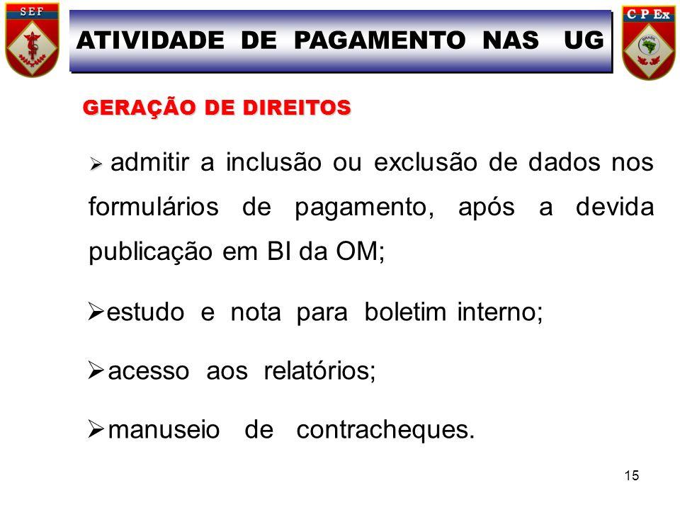 GERAÇÃO DE DIREITOS GERAÇÃO DE DIREITOS admitir a inclusão ou exclusão de dados nos formulários de pagamento, após a devida publicação em BI da OM; AT