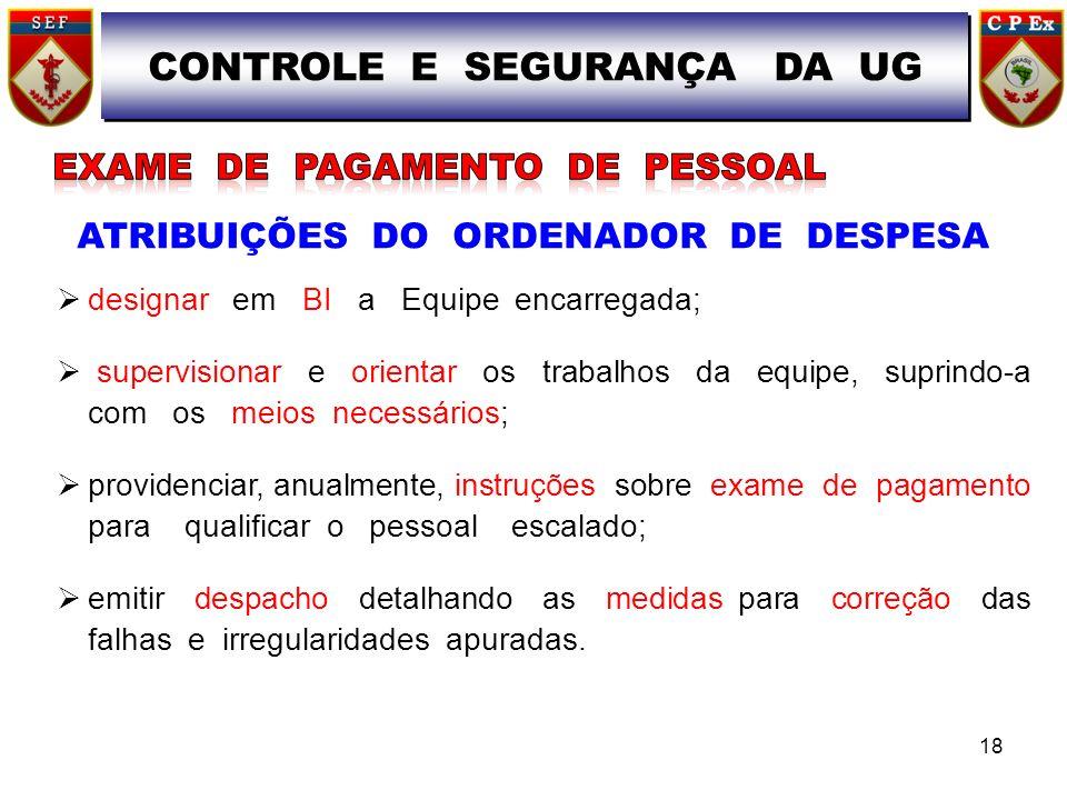 ATRIBUIÇÕES DO ORDENADOR DE DESPESA designar em BI a Equipe encarregada; supervisionar e orientar os trabalhos da equipe, suprindo-a com os meios nece