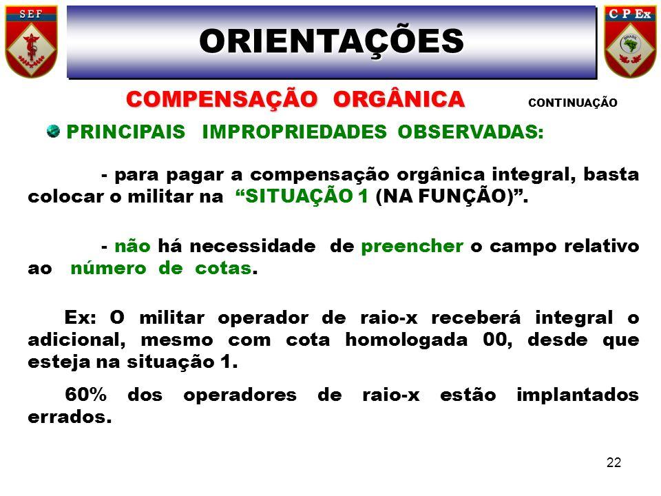 - para pagar a compensação orgânica integral, basta colocar o militar na SITUAÇÃO 1 (NA FUNÇÃO). - não há necessidade de preencher o campo relativo ao