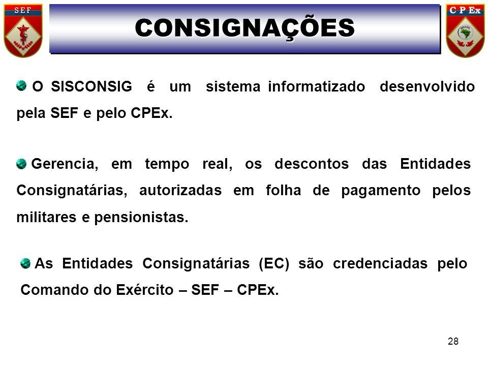 O SISCONSIG é um sistema informatizado desenvolvido pela SEF e pelo CPEx. Gerencia, em tempo real, os descontos das Entidades Consignatárias, autoriza