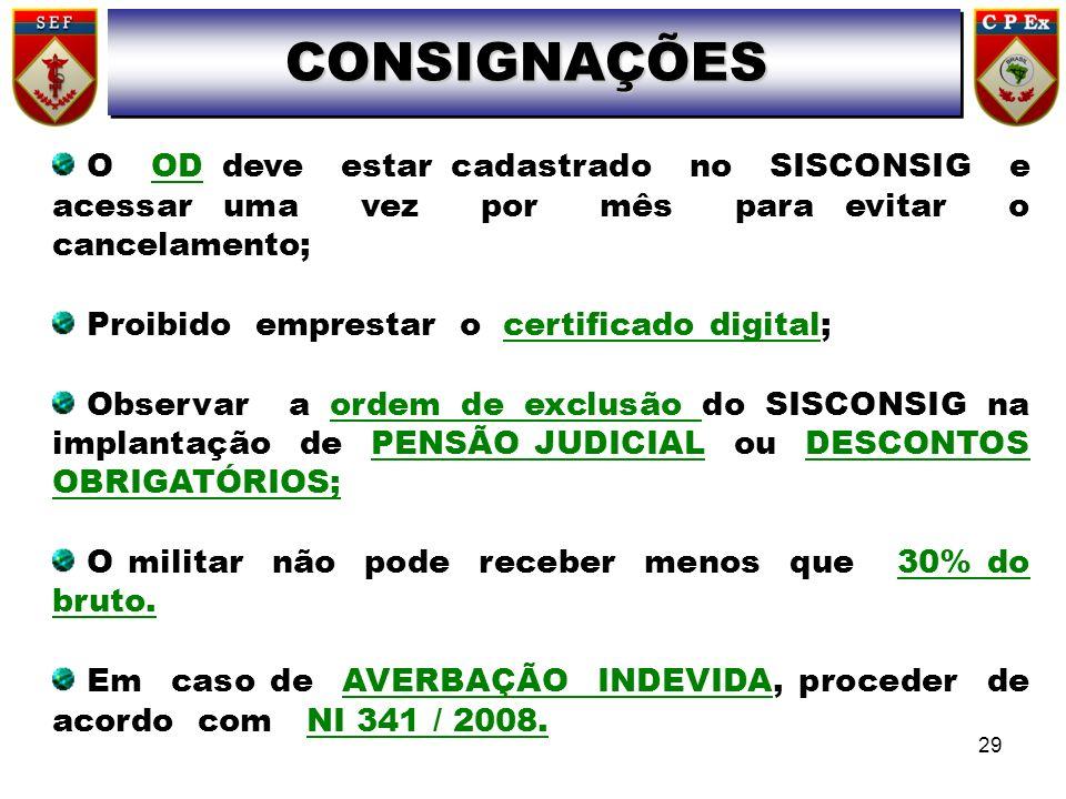 O OD deve estar cadastrado no SISCONSIG e acessar uma vez por mês para evitar o cancelamento; Proibido emprestar o certificado digital; Observar a ord