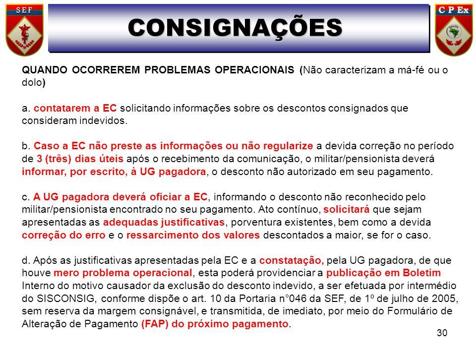 CONSIGNAÇÕES QUANDO OCORREREM PROBLEMAS OPERACIONAIS (Não caracterizam a má-fé ou o dolo) a. contatarem a EC solicitando informações sobre os desconto