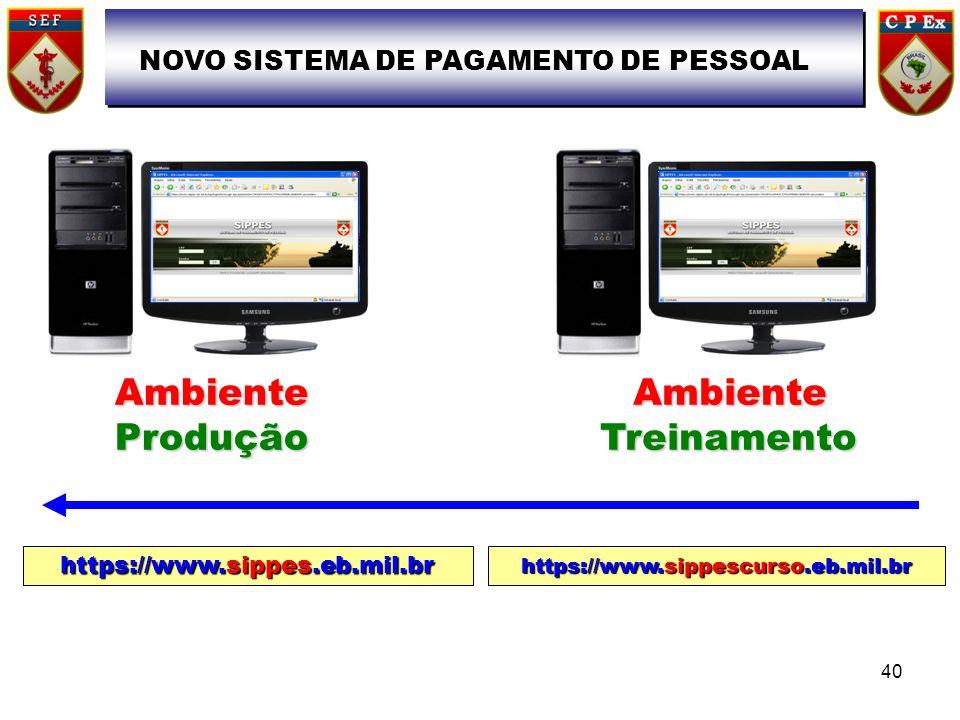 https://www.sippes.eb.mil.br https://www.sippescurso.eb.mil.br NOVO SISTEMA DE PAGAMENTO DE PESSOAL AmbienteProduçãoAmbienteTreinamento 40