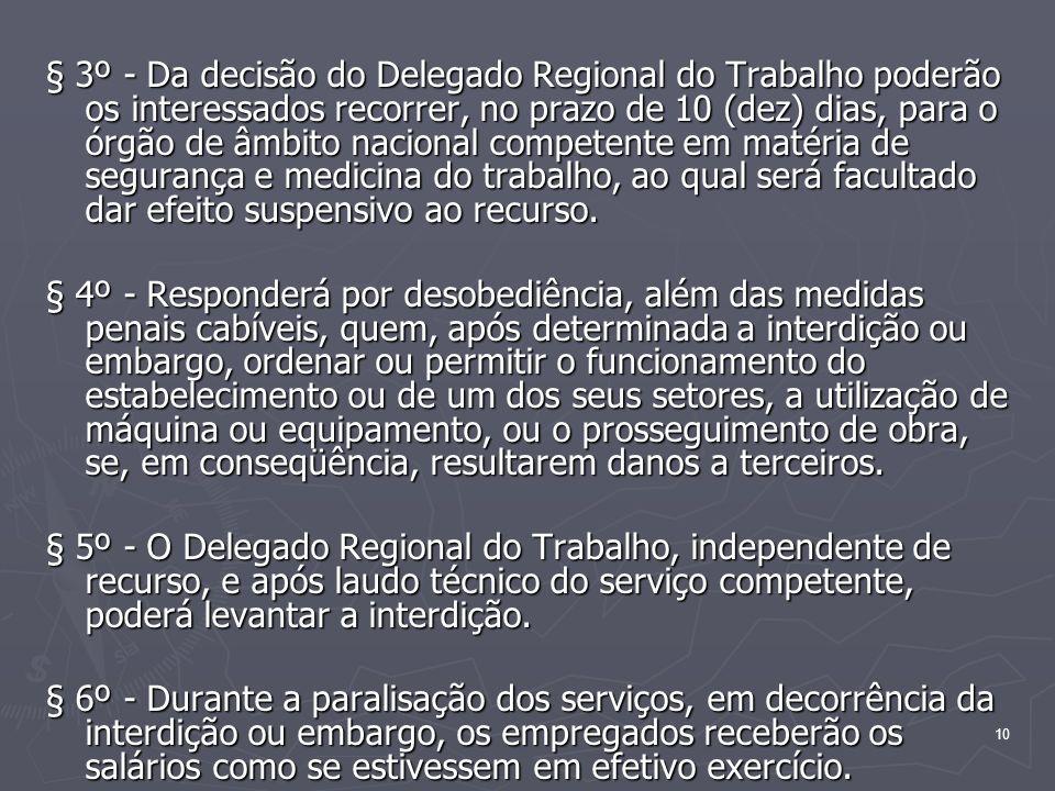 10 § 3º - Da decisão do Delegado Regional do Trabalho poderão os interessados recorrer, no prazo de 10 (dez) dias, para o órgão de âmbito nacional com