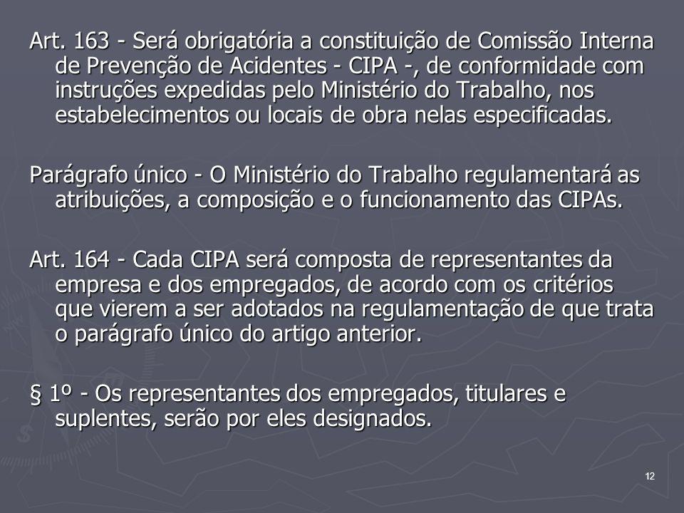12 Art. 163 - Será obrigatória a constituição de Comissão Interna de Prevenção de Acidentes - CIPA -, de conformidade com instruções expedidas pelo Mi