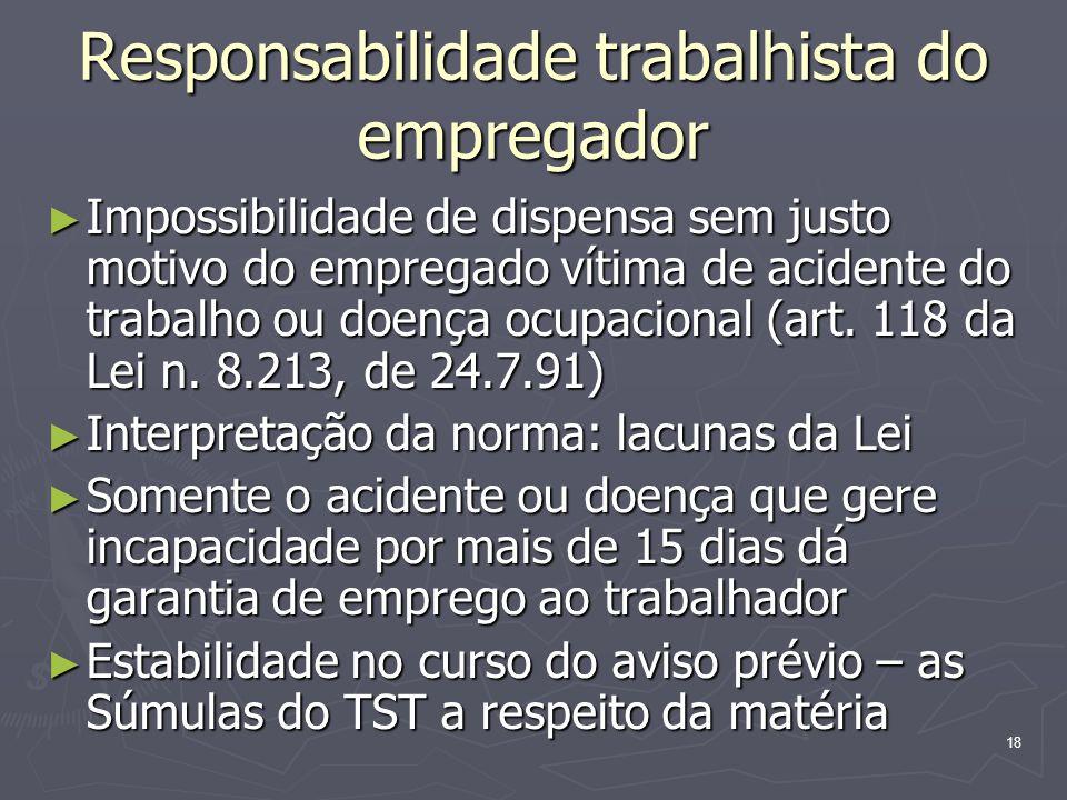 18 Responsabilidade trabalhista do empregador Impossibilidade de dispensa sem justo motivo do empregado vítima de acidente do trabalho ou doença ocupa