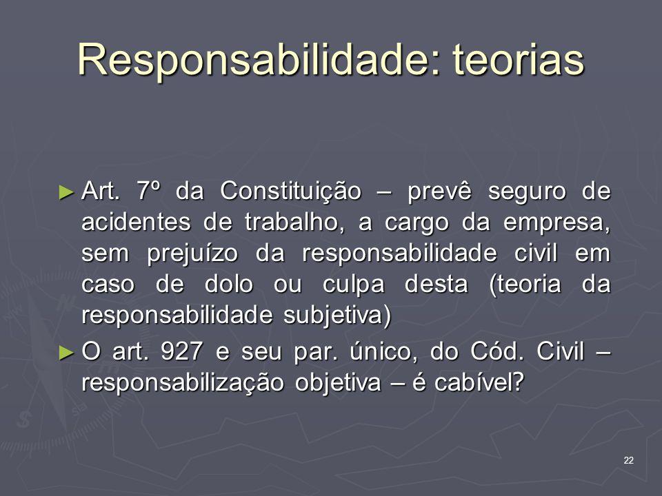 22 Responsabilidade: teorias Art. 7º da Constituição – prevê seguro de acidentes de trabalho, a cargo da empresa, sem prejuízo da responsabilidade civ