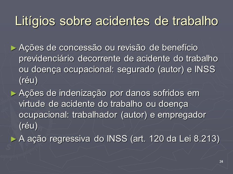 24 Litígios sobre acidentes de trabalho Ações de concessão ou revisão de benefício previdenciário decorrente de acidente do trabalho ou doença ocupaci
