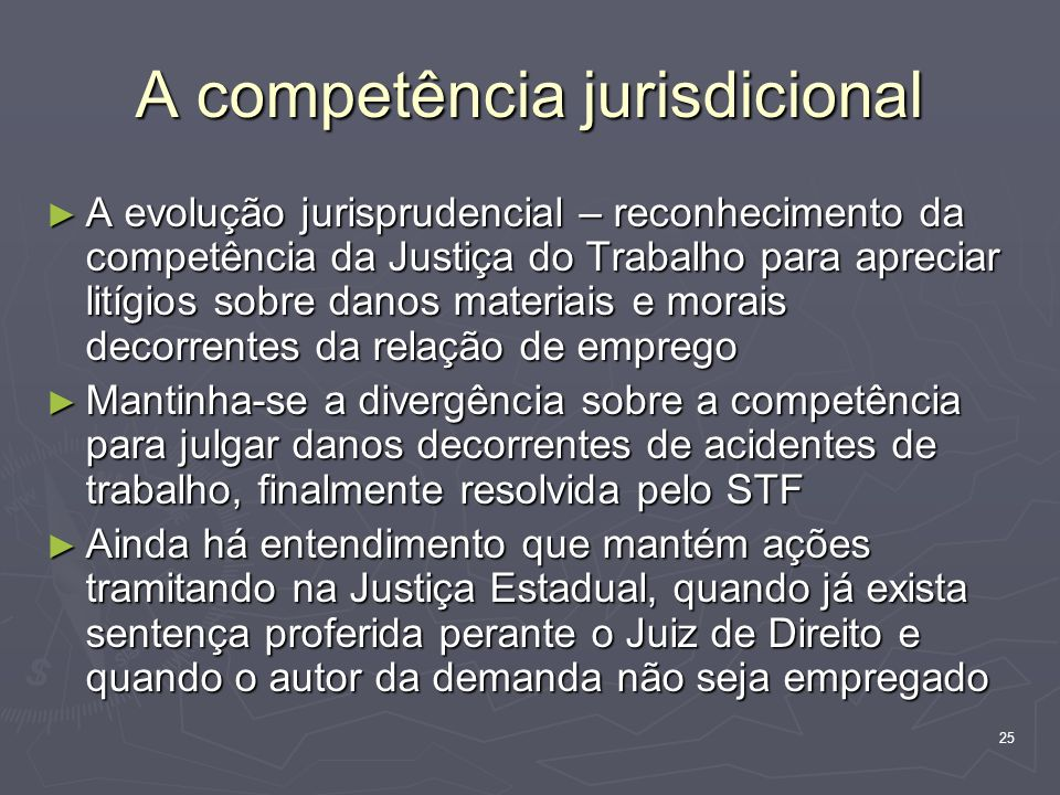 25 A competência jurisdicional A evolução jurisprudencial – reconhecimento da competência da Justiça do Trabalho para apreciar litígios sobre danos ma