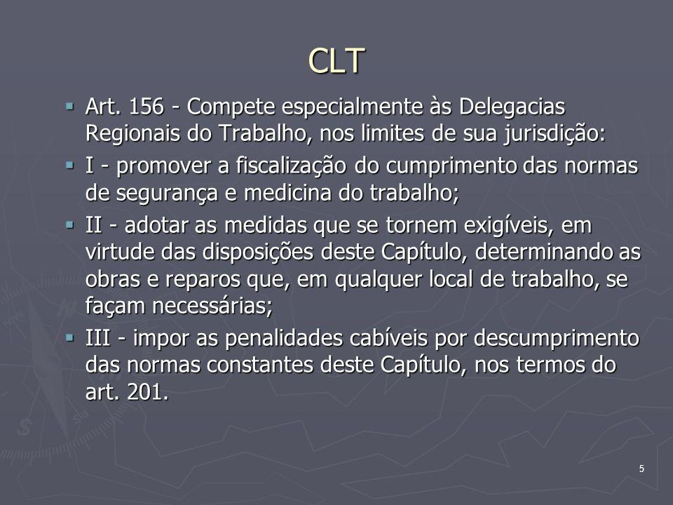 5 CLT Art. 156 - Compete especialmente às Delegacias Regionais do Trabalho, nos limites de sua jurisdição: Art. 156 - Compete especialmente às Delegac