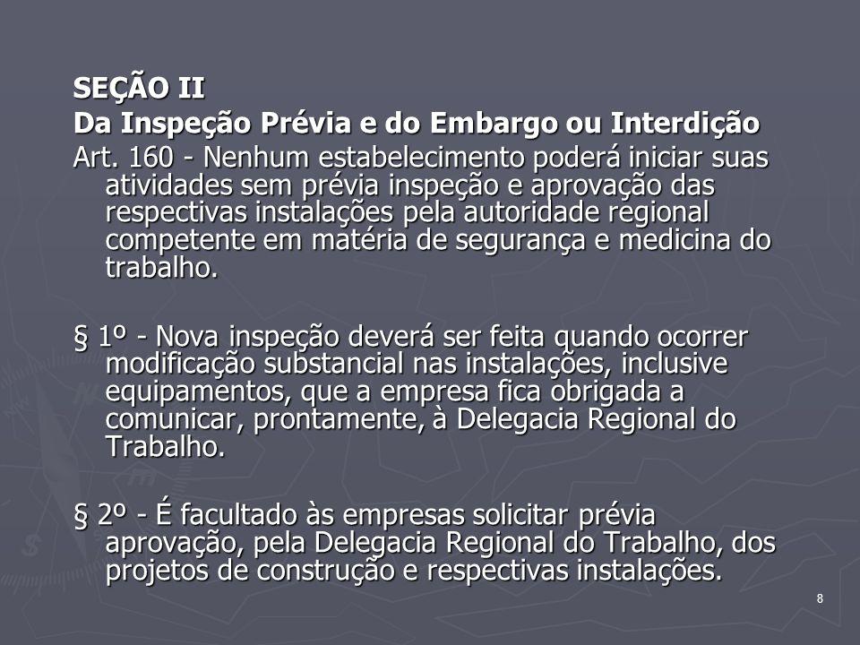 8 SEÇÃO II Da Inspeção Prévia e do Embargo ou Interdição Art. 160 - Nenhum estabelecimento poderá iniciar suas atividades sem prévia inspeção e aprova