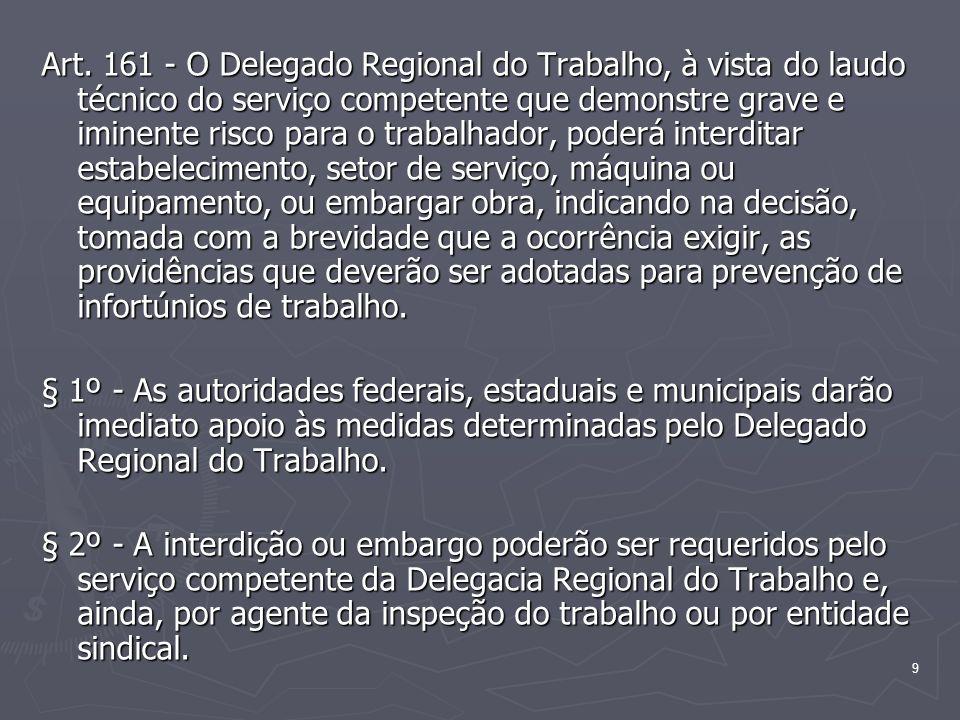 9 Art. 161 - O Delegado Regional do Trabalho, à vista do laudo técnico do serviço competente que demonstre grave e iminente risco para o trabalhador,