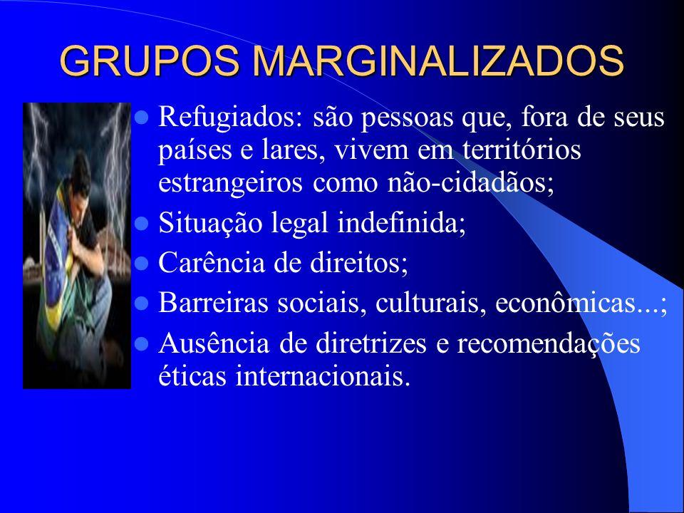 GRUPOS MARGINALIZADOS Prisioneiros: são indivíduos que estão desprovidos das liberdades normalmente desfrutadas pelos demais membros da sociedade; Obe
