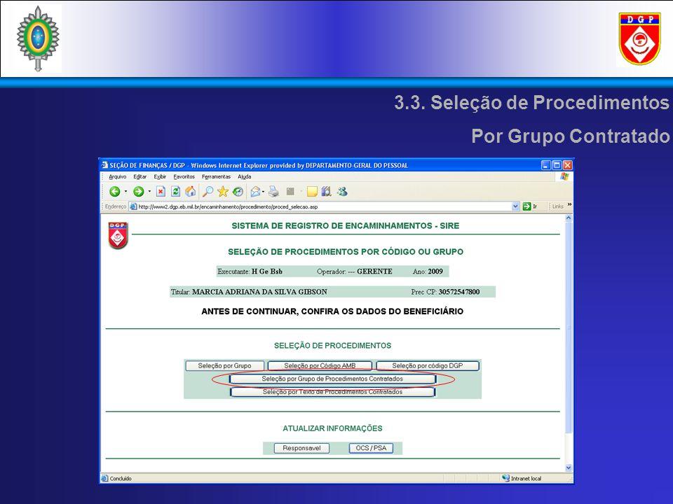 3.3. Seleção de Procedimentos Por Grupo Contratado