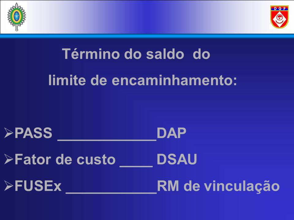 Término do saldo do limite de encaminhamento: PASS ____________DAP Fator de custo ____ DSAU FUSEx ___________RM de vinculação