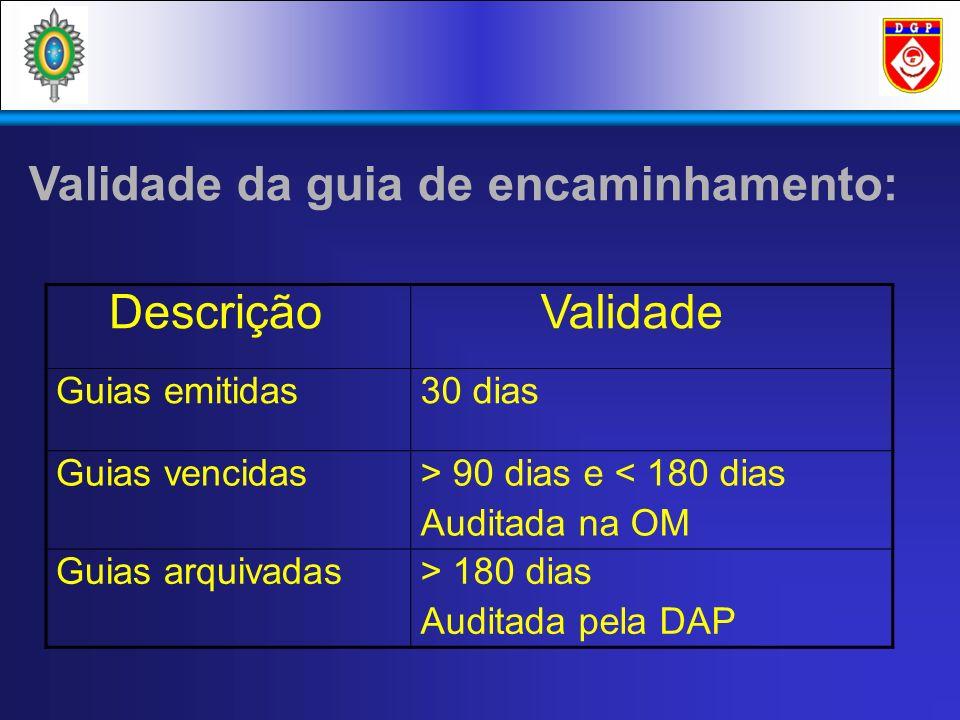 Validade da guia de encaminhamento: Descrição Validade Guias emitidas30 dias Guias vencidas> 90 dias e < 180 dias Auditada na OM Guias arquivadas> 180