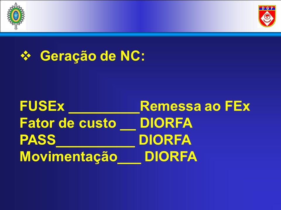 Geração de NC: FUSEx _________Remessa ao FEx Fator de custo __ DIORFA PASS__________ DIORFA Movimentação___ DIORFA