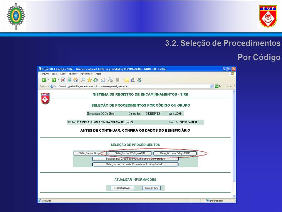 3.2. Seleção de Procedimentos Por Código