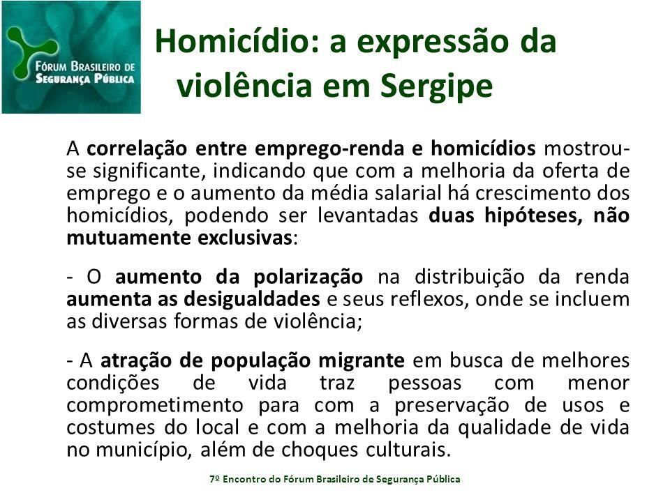 Homicídio: a expressão da violência em Sergipe A correlação entre emprego-renda e homicídios mostrou- se significante, indicando que com a melhoria da