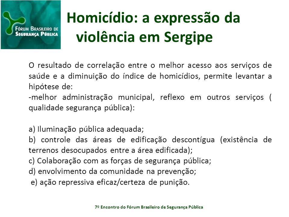 Homicídio: a expressão da violência em Sergipe O resultado de correlação entre o melhor acesso aos serviços de saúde e a diminuição do índice de homic