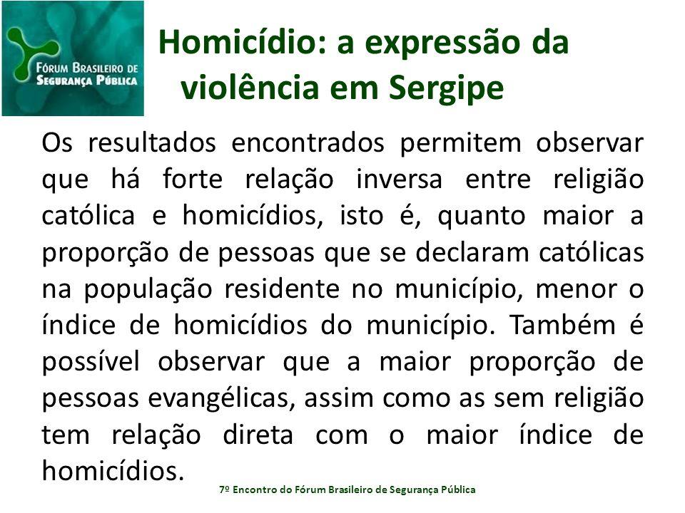 Homicídio: a expressão da violência em Sergipe Os resultados encontrados permitem observar que há forte relação inversa entre religião católica e homi