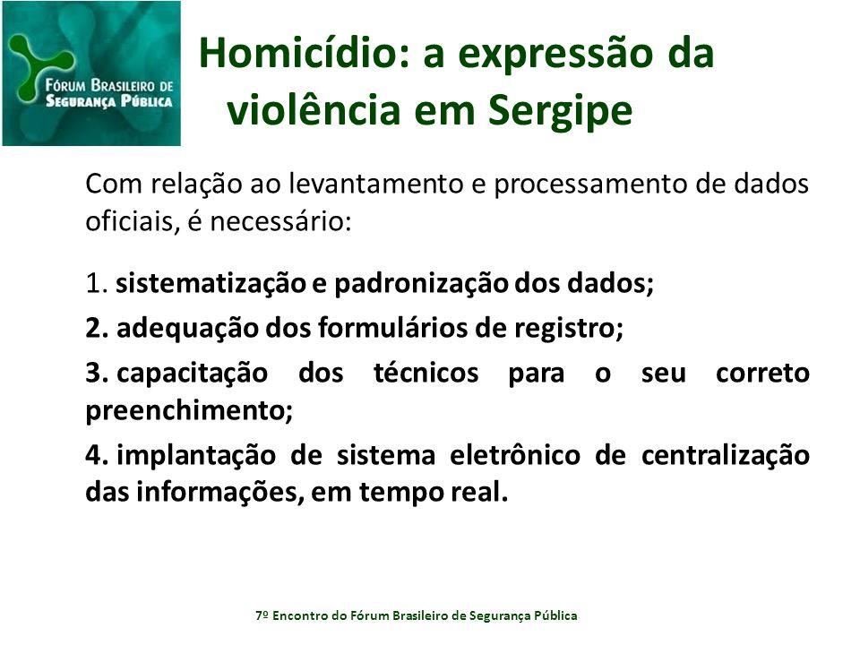 Homicídio: a expressão da violência em Sergipe Com relação ao levantamento e processamento de dados oficiais, é necessário: 1. sistematização e padron