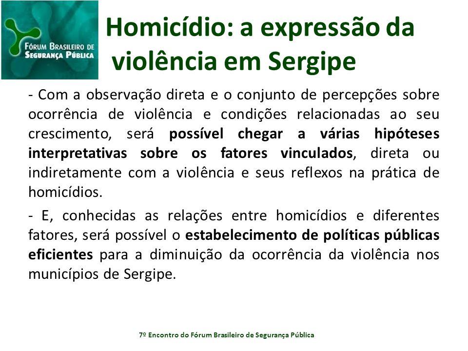 Homicídio: a expressão da violência em Sergipe - Com a observação direta e o conjunto de percepções sobre ocorrência de violência e condições relacion