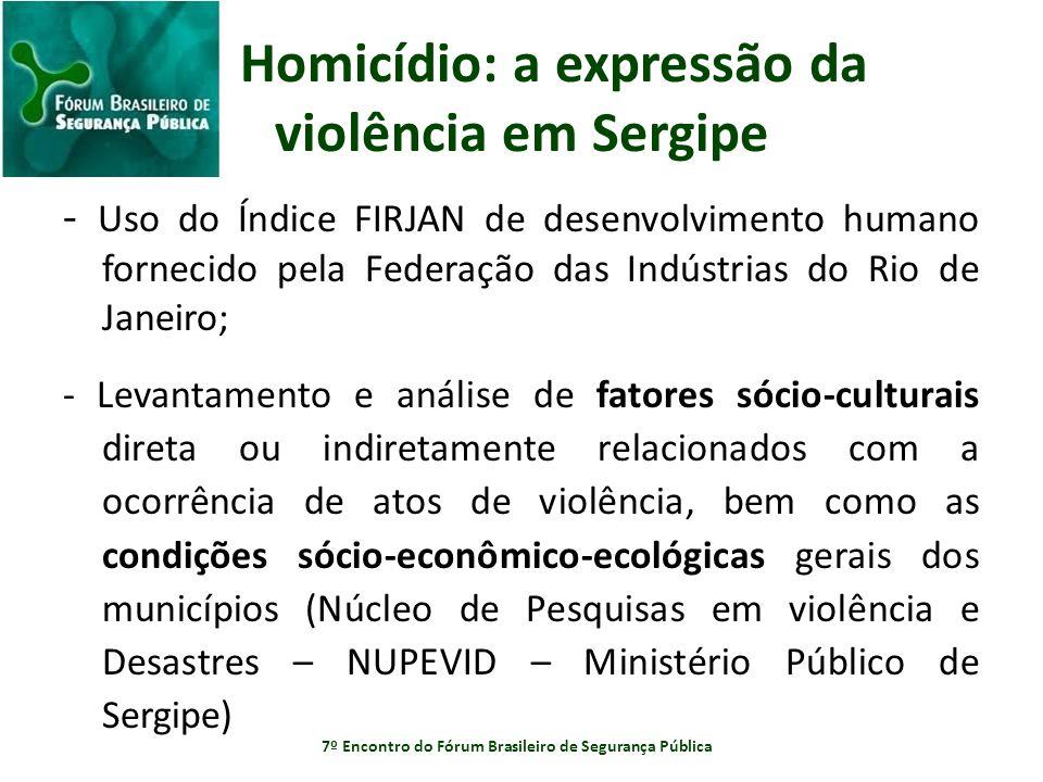 Homicídio: a expressão da violência em Sergipe - Uso do Índice FIRJAN de desenvolvimento humano fornecido pela Federação das Indústrias do Rio de Jane