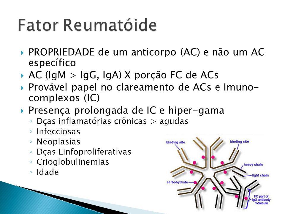 PROPRIEDADE de um anticorpo (AC) e não um AC específico AC (IgM > IgG, IgA) X porção FC de ACs Provável papel no clareamento de ACs e Imuno- complexos