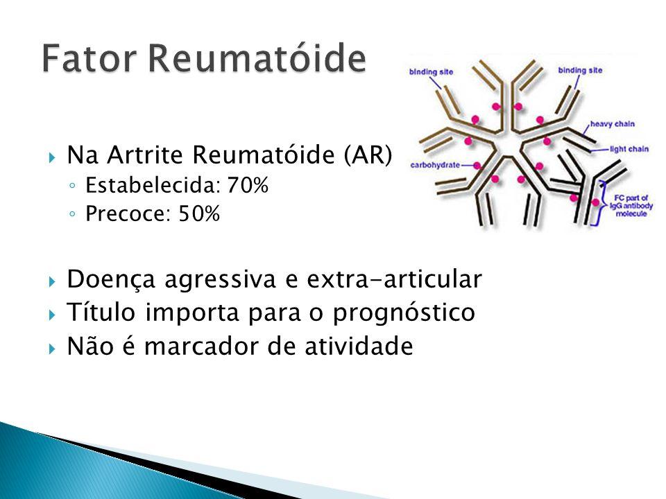 Na Artrite Reumatóide (AR) Estabelecida: 70% Precoce: 50% Doença agressiva e extra-articular Título importa para o prognóstico Não é marcador de ativi