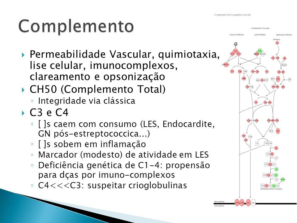 Permeabilidade Vascular, quimiotaxia, lise celular, imunocomplexos, clareamento e opsonização CH50 (Complemento Total) Integridade via clássica C3 e C